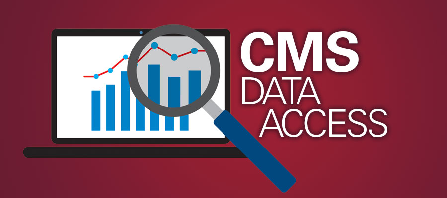 "Magnifying glass over chart next to white text that reads ""CMS Data Access"" - CMS posts compliance survey data, tests streamlined validation process"