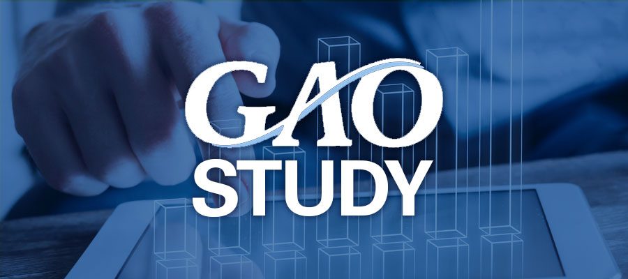 "Blue tinted background showing hands at computer tablet with white text that reads ""GAO Study"""
