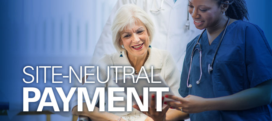 "Clinician and patient looking at tablet next to text that reads ""Site-Neutral Payment"""