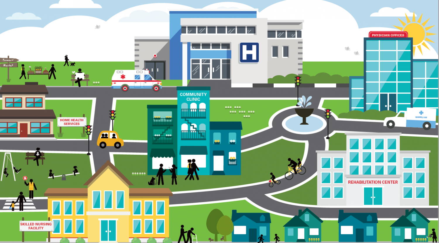 City scene with medical facilities highlighted
