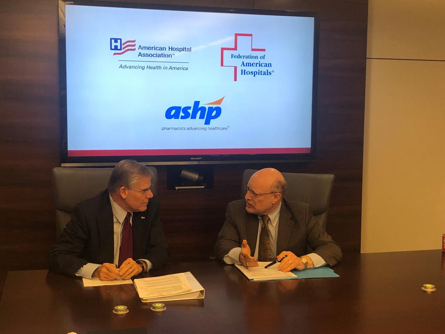 Rick Pollack, president and CEO of the American Hospital Association, discusses drug pricing with Chip Kahn, president and CEO of the Federation of America's Hospitals.