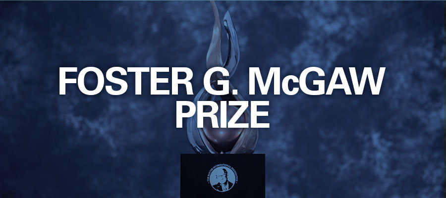 "Blue background with white text that reads ""Foster G. McGaw Prize"""