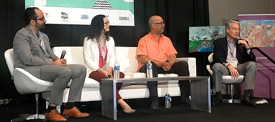 SXSW panel: Pictured, from left to right: Manik Bhat, CEO of Healthify, Inc.; Carmen Llanes Pulido, executive director at Go Austin/Vamos Austin; Dwayne Proctor, senior adviser to the president and director at the Robert Wood Johnson Foundation, and Ron Paulus, M.D., former president and CEO of Mission Health.