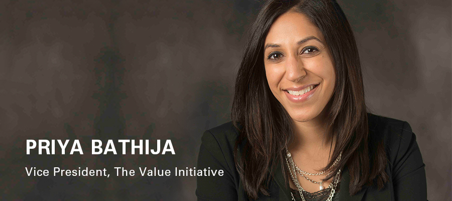 "Headshot of Priya Bathija with text reading ""Priya Bathija: Vice President, The Value Initiative"""