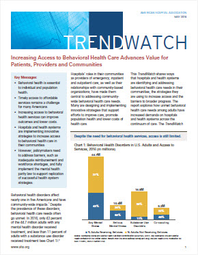 PDF cover image for Behavioral Health Trendwatch 2019