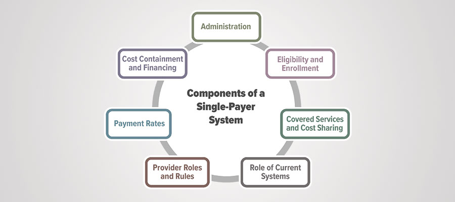 Components of single payer system graphic