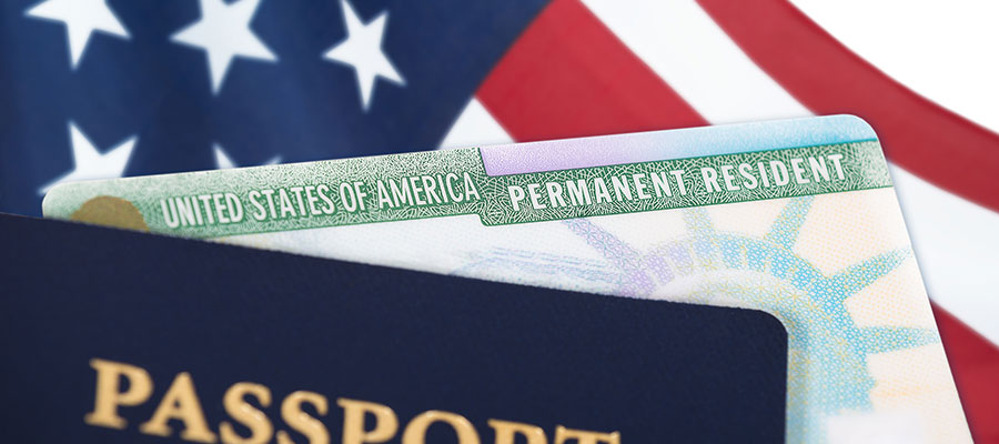 Image of a passport and American flag