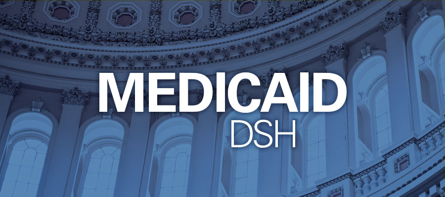 "Image of inside of Capitol Building with text that says ""Medicaid DSH"""