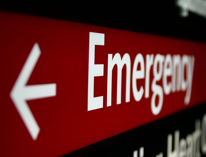 close up of emergency department sign
