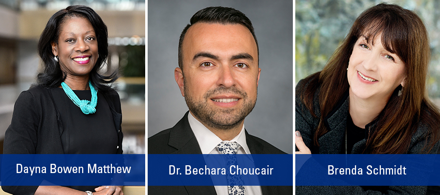 AHA Leadership Summit 2019 Keynote Speakers Dayna Bowen Matthew, Dr. Bechara Choucair, and Brenda Schmidt
