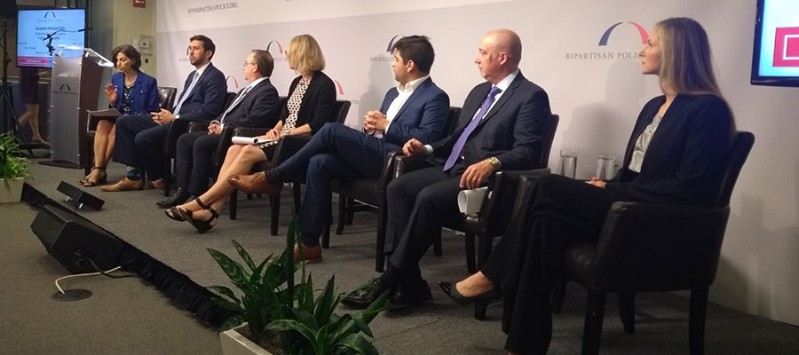 Image of panel at Bipartisan Policy Center event focused on surprise bills