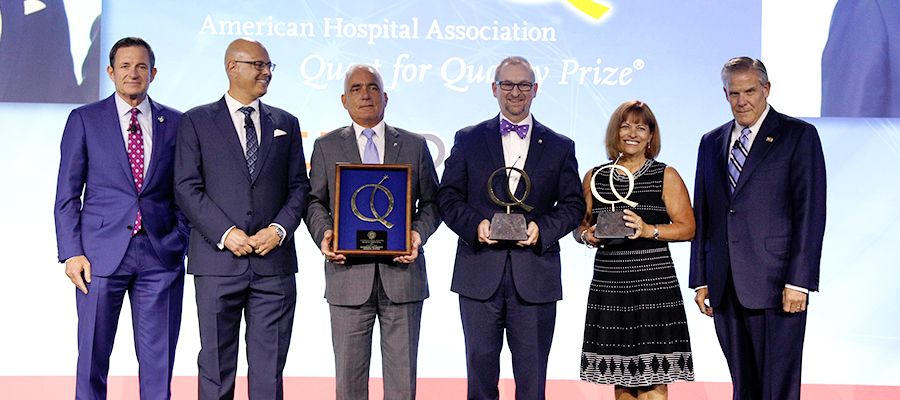 AHA Leadership Summit 2019 Quest for Quality Award Winners with AHA Chairman Brian Gragnolati and AHA President and CEO Rick Pollack.