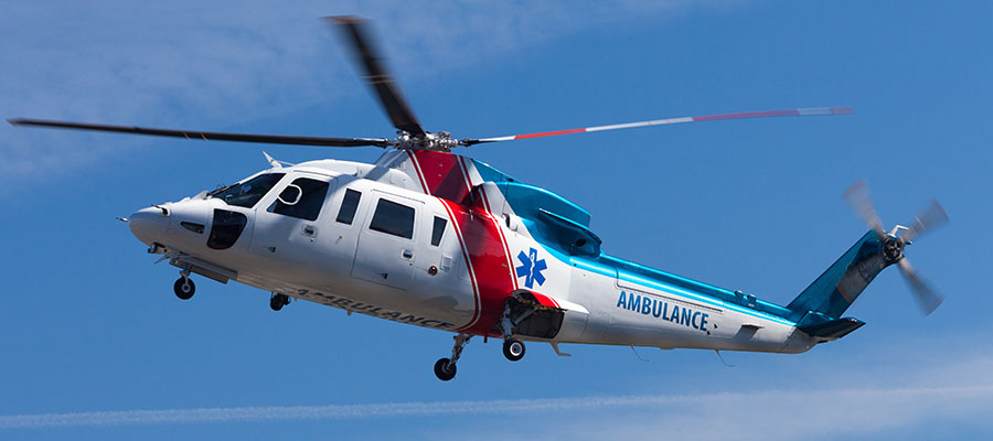 Image of emergency helicopter ambulance in flight