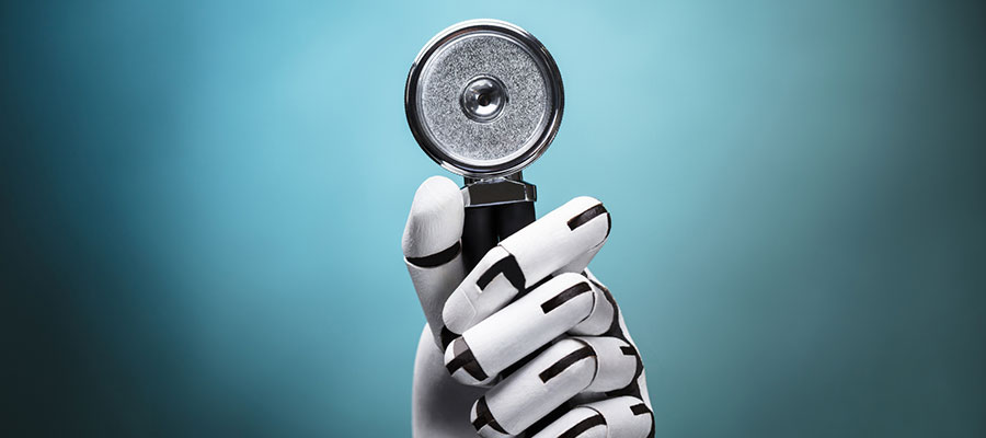 Image of robotic hand holding a stethoscope