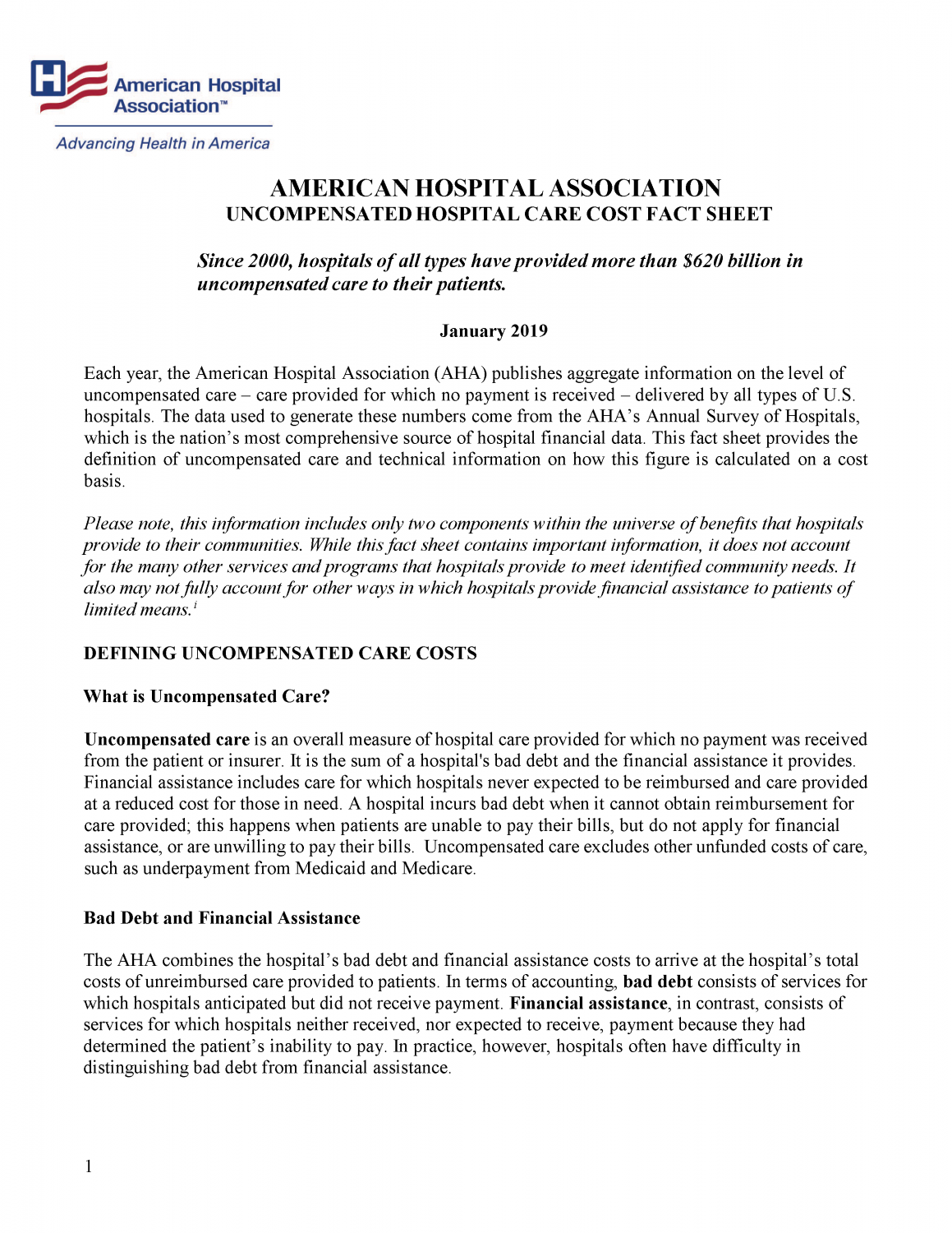 Page 1 of Uncompensated Hospital Care Cost Fact Sheet