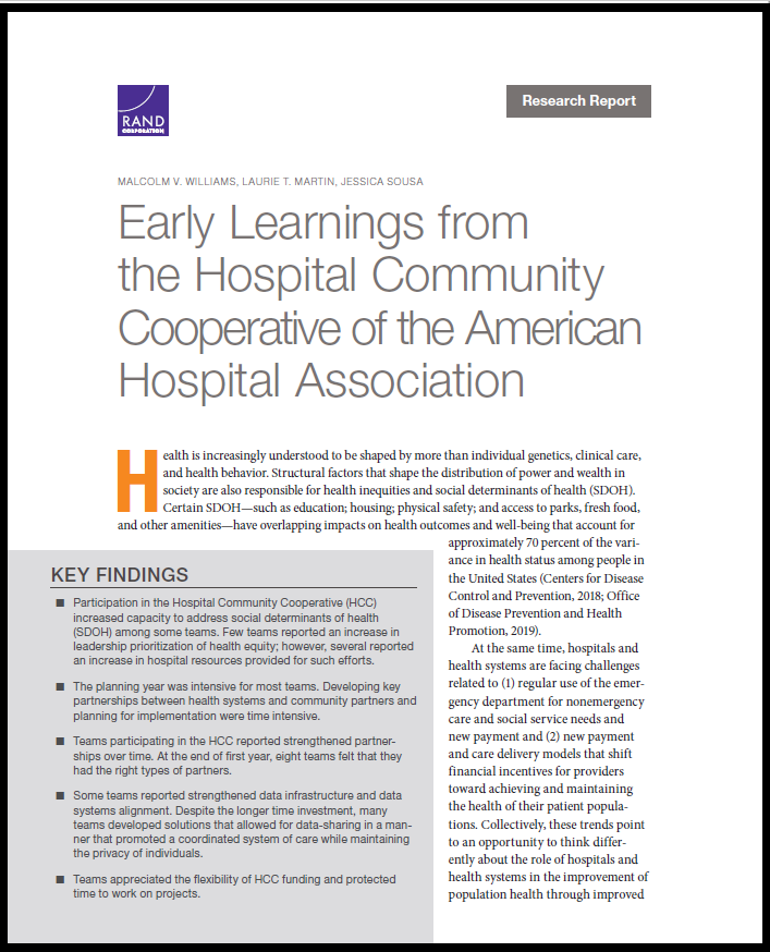 Early Learnings from the Hospital Community Cooperative of the American Hospital Association