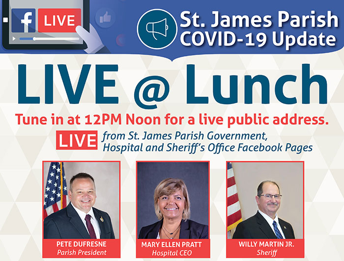 St. James Parish COVID-19 Live @Lunch poster