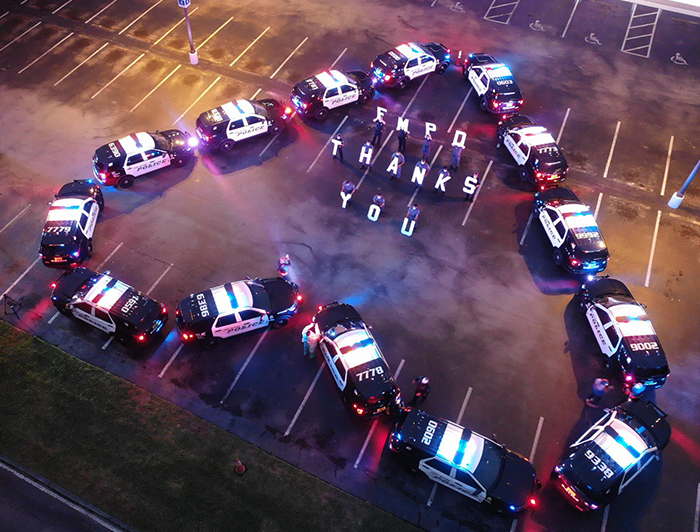 Fort Myers Police Department (FMPD) use there cars to create a large heart