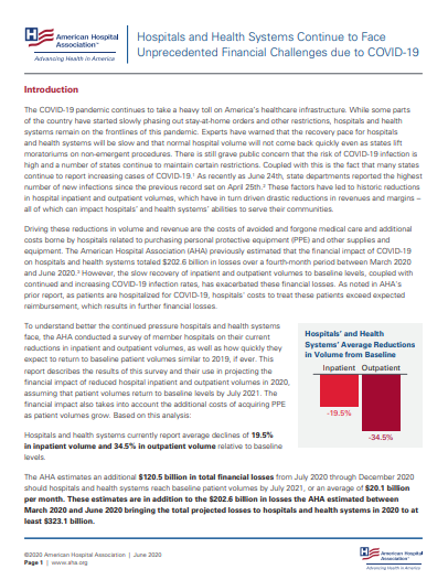 Hospitals and Health Systems Continue to Face Unprecedented Financial Challenges due to COVID-19 report first page