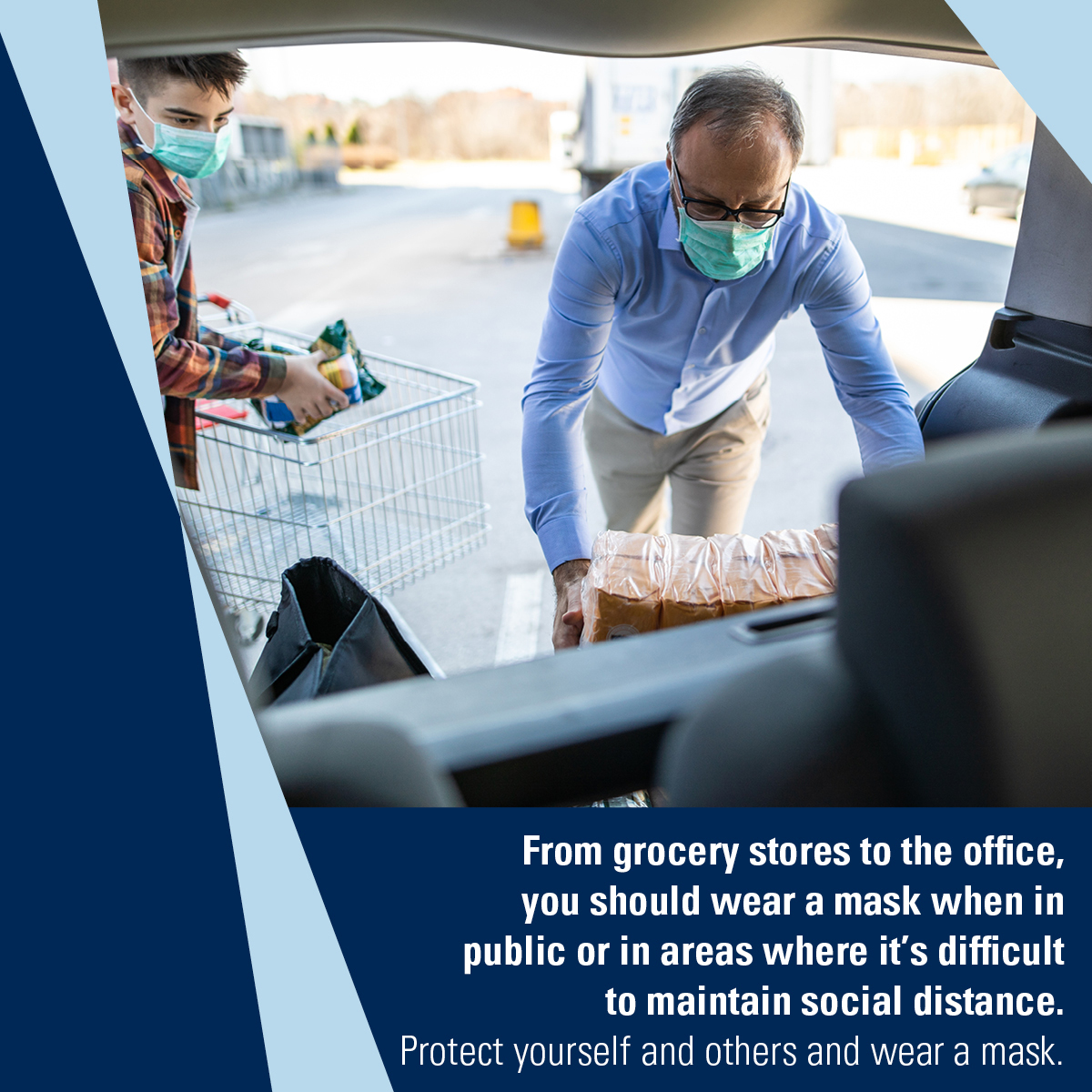 Adult and teen wearing masks load groceries from a shopping cart into a car. Caption: From your grocery stores to the office, you should wear a mask when in public or in areas where it's difficult to maintain social distance. Protect yourself and others and wear a mask.