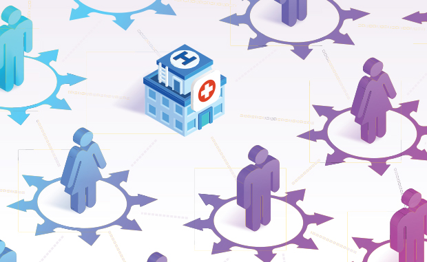 AHA Market Scan Hospitals Work to Ensure Patients a Safe Return for Needed Care. Graphic of people with compass points around them surrounding a hospital.