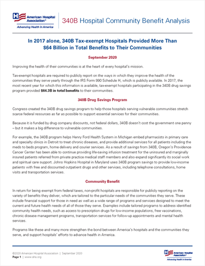 340B Hospital Community Benefit Analysis Report Cover