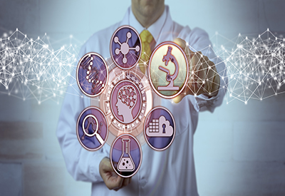 abstract medical concept art overlaid on man in white coat