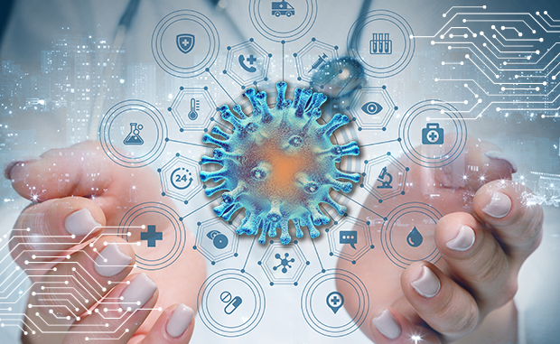 3 Digital Strategic Priorities for the Next Normal. A clinician holds a virtual image of a coronavirus 2 (SARS-CoV-2) cell in her hands with a network of responses to the pandemic displayed on a screen.