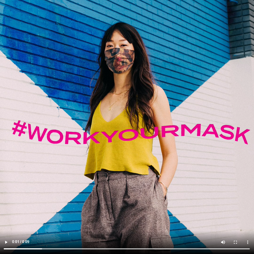 PR Paid Post 4 - Work Your Mask text waves over image of woman