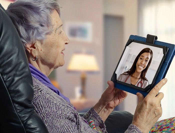 Elderly person video chatting