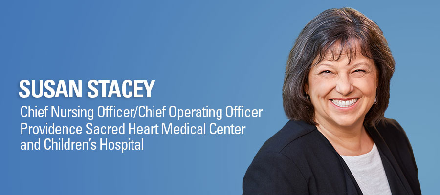 Susan Stacey headshot. Chief Nursing Officer/Chief Operating Officer, Providence Sacred Heart Medical Center and Children's Hospital.