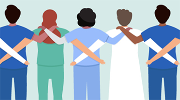 graphic depicting back of line of health workers clasping shoulders in team huddle