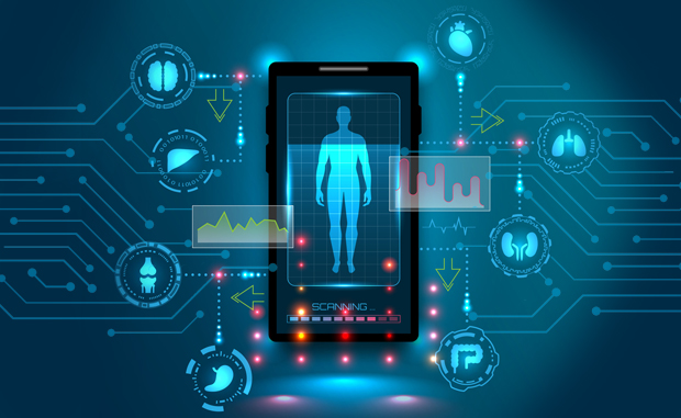 Take the Next Step to Advance Telehealth Innovation. A human body being scanned on a phone with different bodily systems and organs displayed.