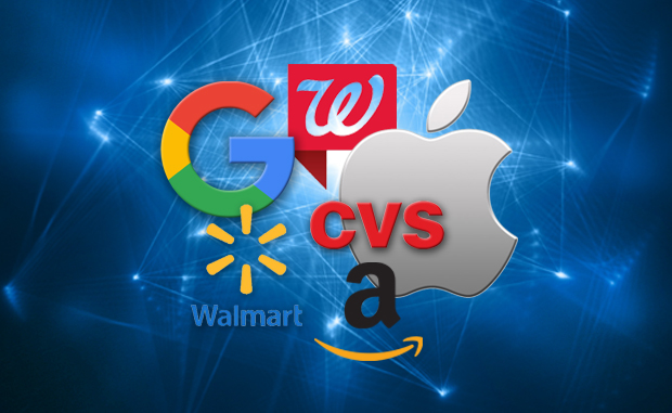 COVID-19 Didn't Stop Health Care Disruptors from Moving Forward. The logos of Google Health/Alphabet, Walgreens Boots Alliance, CVS Health/Aetna, Walmart, and Amazon.