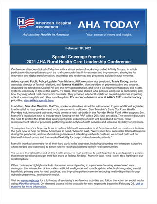 2021 Rural Leadership Conference AHA Today Highlights Day 2