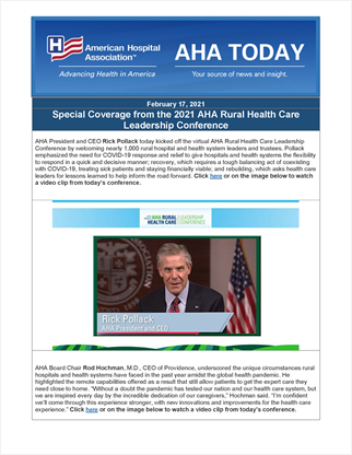 2021 Rural Leadership Conference AHA Today Highlights Day 1