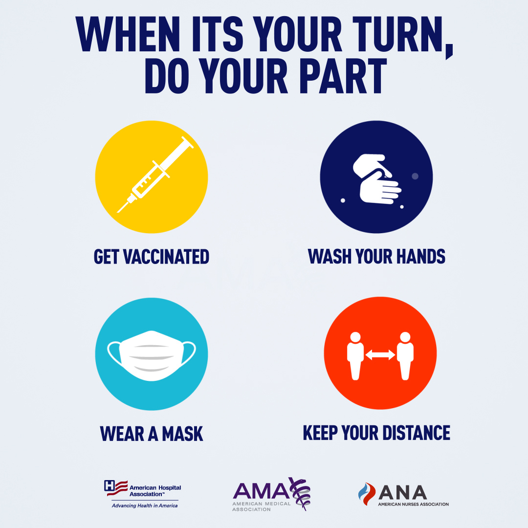 When it's your turn, do your part: Get vaccinated, wash your hands, wear a mask, keep your distance