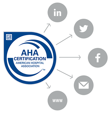 AHA Certification logo with social media images