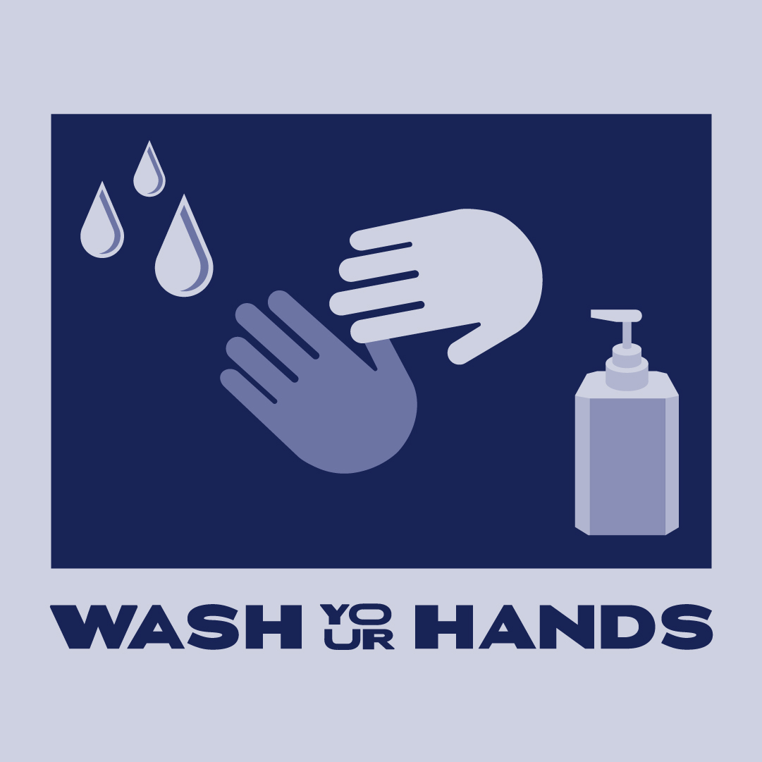 Graphic of hands, soap dispenser and water droplets with text: Wash Your Hands