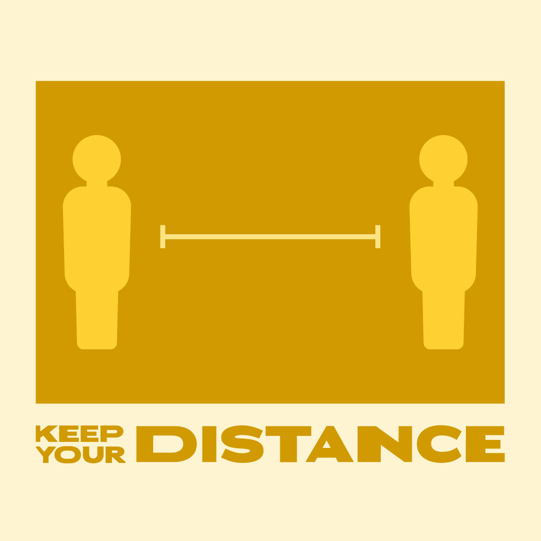 Graphic of human figures spaced widely: Keep Your Distance