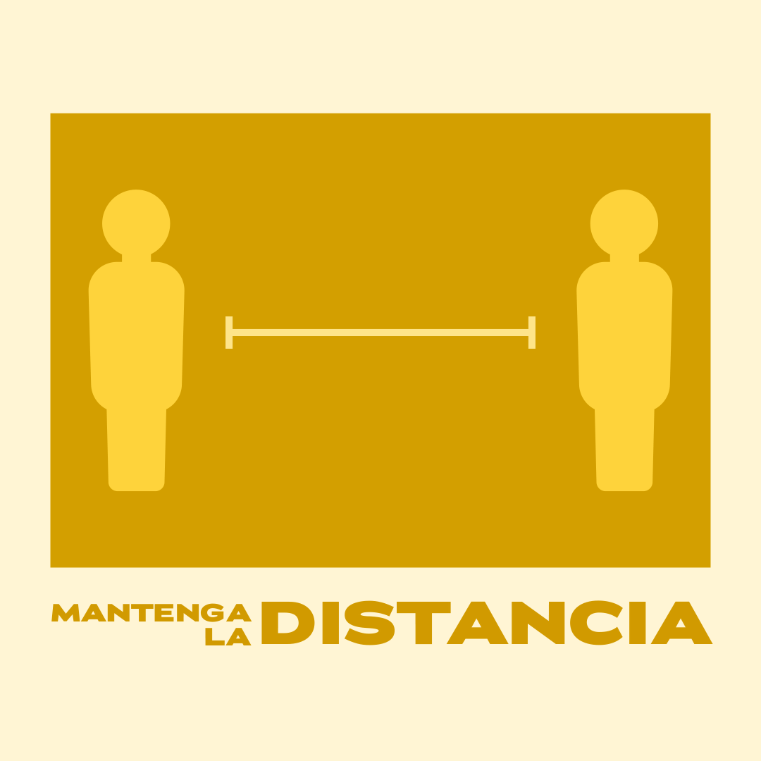 Graphic of human figures spaced widely with text: Mantenga la distancia