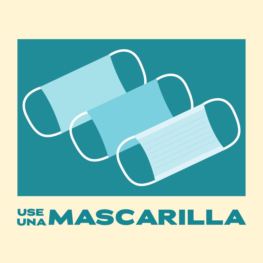 Graphic of three masks with text: Use una mascarilla