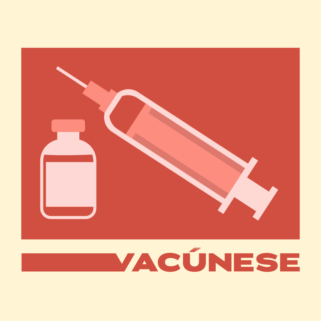 Graphic of syringe and vial with text: Vaccinate