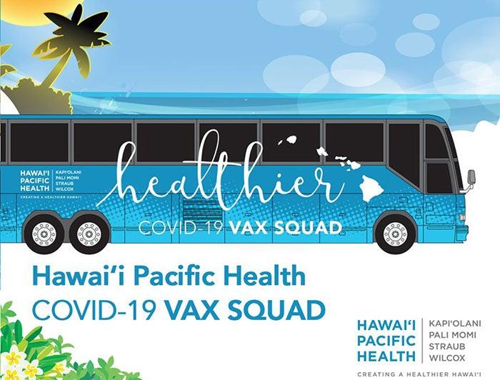 Illustration of Hawaii Pacific Health Vax Squad bus