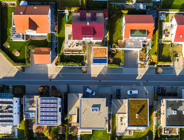 Arial view of houses