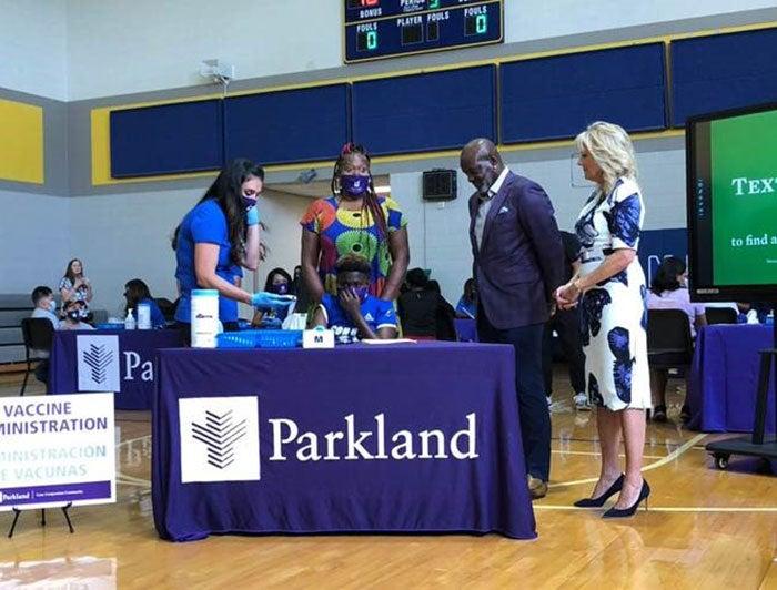 Emmitt Smith and First Lady Jill Biden at Parkland event