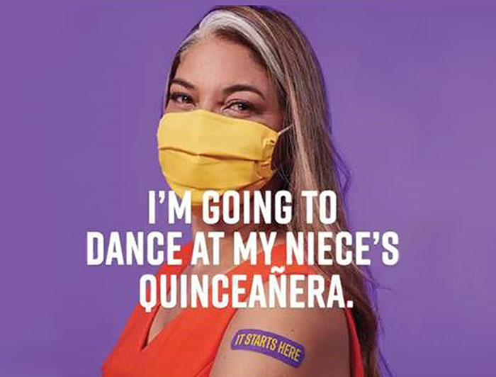 woman wears mask, with text over image: 'I'm going to dance at my niece's quinceneara'