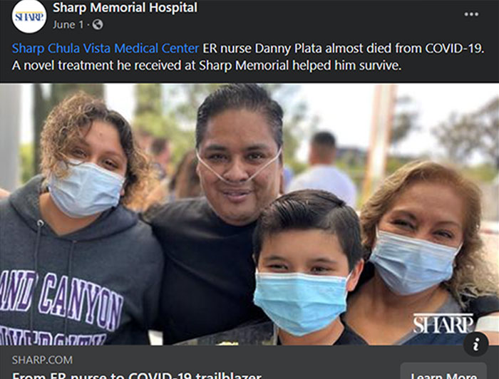 Facebook post about ER nurse Danny Plata