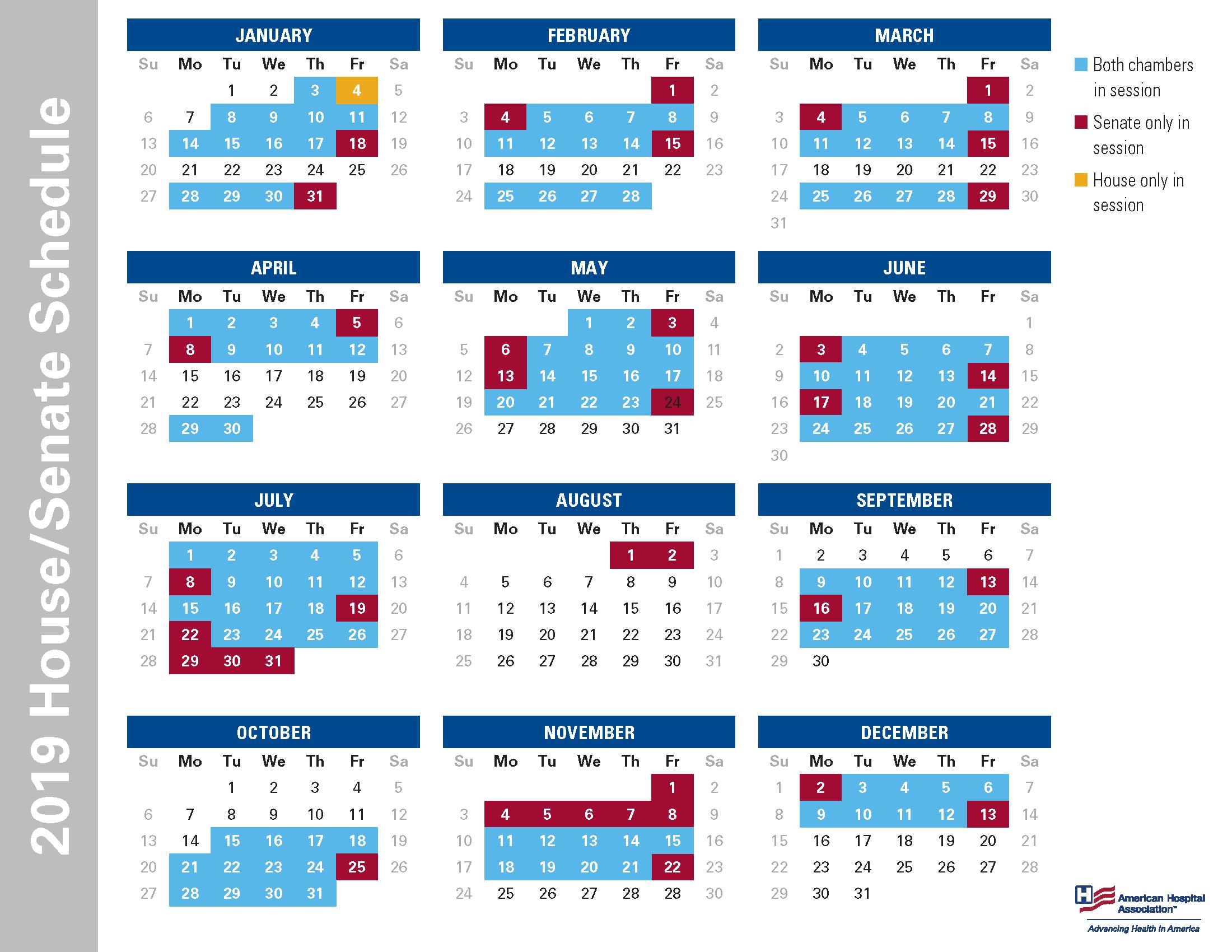 2021 Congressional Calendar 2019 House/Senate Schedule   AHA
