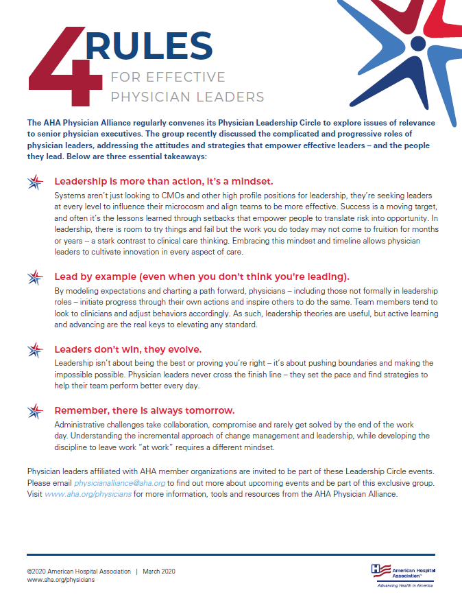 Four Rules for Effective Physician Leaders